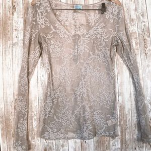 Free People Lace Floral Long Sleeve Top Large